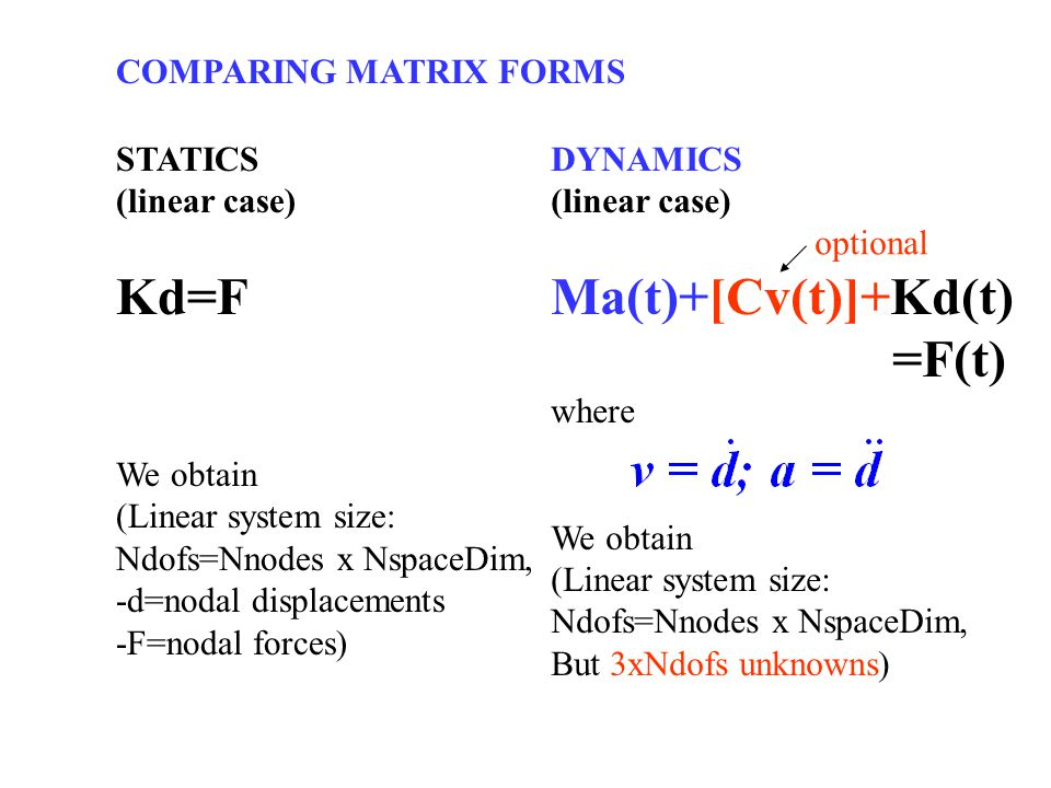 Kd=F Ma(t)+[Cv(t)]+Kd(t) =F(t) COMPARING MATRIX FORMS STATICS